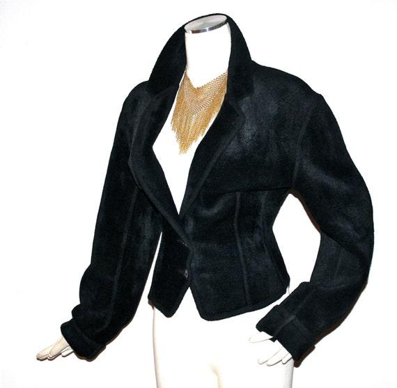 Vintage AZZEDINE ALAIA Chenille Jacket Black Velv… - image 1