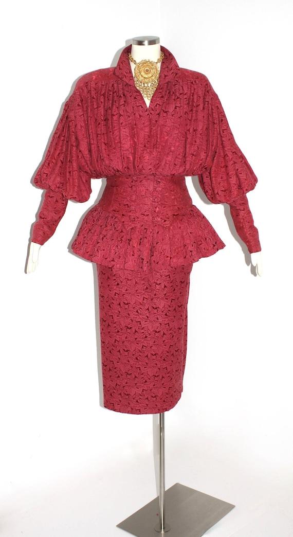 Vintage Norma Kamali Skirt Suit Burgundy Peplum Floral Brocade Etsy