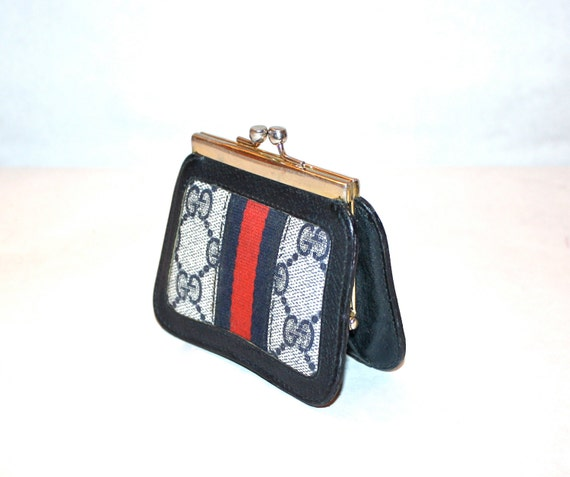 4640b0ca3511e9 GUCCI Vintage Coin Purse Navy Monogrammed Canvas Leather Web   Etsy