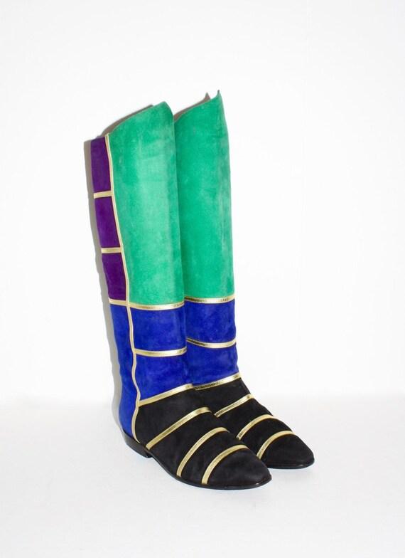 COLORBLOCK Vintage bottes plat daim Patchwork plat bottes 6,5 c91d83
