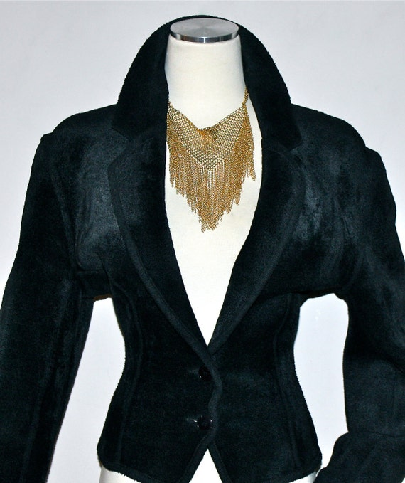 Vintage AZZEDINE ALAIA Chenille Jacket Black Velv… - image 4