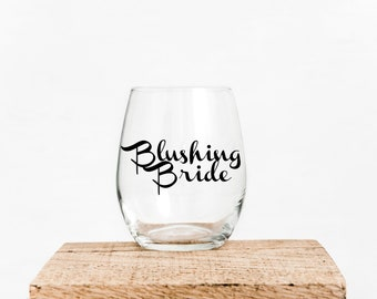 Blushing Bride wine glass
