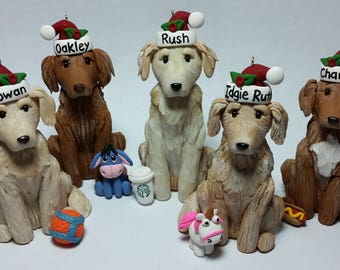 Custom dog ornament with favorite toy