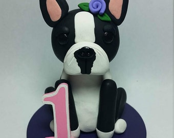 Boston Terrier Birthday Cake Topper