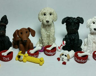 Custom Dog with Bowl and Favorite Toy Figure