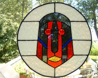Stained Glass Circular Mask Panel Window Hanging Sun Catcher Tribal