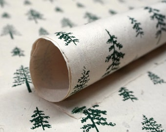 Of The Earth Seed Paper | 20x30 Handmade Sheet | Gift Wrapping Paper | Green Trees | Set of 3
