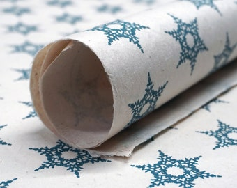 Of The Earth Seed Paper 20x30 handmade sheet gift wrap, wrapping paper, Blue Snowflake set of three
