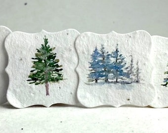"""Holiday Watercolor Tree Tags 