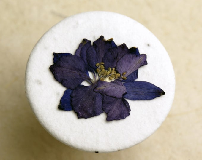 """Purple Larkspur 1.5"""" Real Pressed Flower Decorating Stickers - pack of 12"""