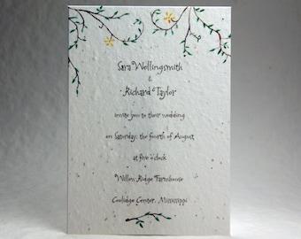 5x7 inch Custom Printed Invitation Panels - White Cotton Seed Paper Garden Vine set of 6