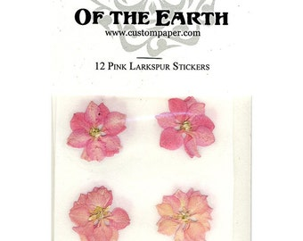 Pink flower stickers etsy pink larkspur 15 real pressed flower decorating stickers pack of 12 not dyed mightylinksfo