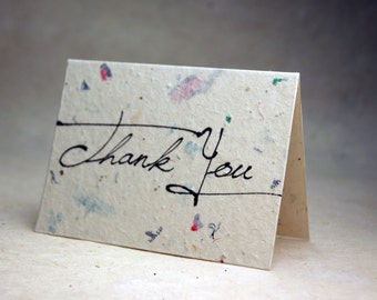 Junk Mail and Wildflower Seeds Handmade Blank Recycled Thank You Cards Set of 3
