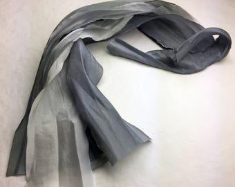 Hand Dyed Silk Ribbon Wedding Flower Bridesmaid Bouquet Cascade Grey