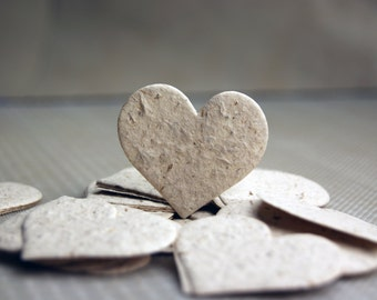 """Hemp Paper Seeded Hearts 1.75"""" x 1.5"""" Wildflower Seeds in Natural for Weddings or Events"""