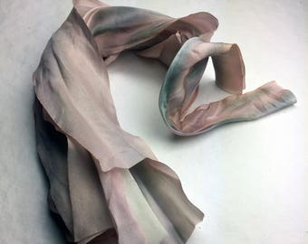 Hand Dyed Silk Ribbon Wedding Flower Bridesmaid Bouquet Cascade Blush Pink and Ivory Tones
