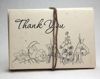 Seed Paper Thank You Cards Blank Inside Recycled Lotka Paper Cut Edge Set of 15