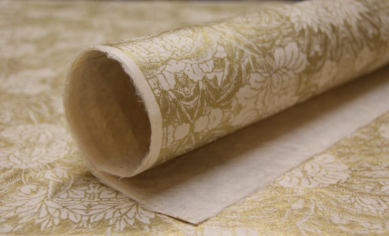 Golden Mum Floral Pattern Lotka Wrapping Paper Holiday Gift Wrap 3 sheets invitation paper