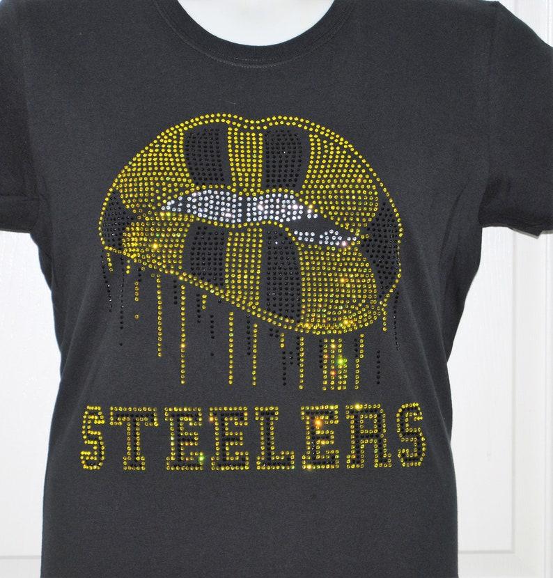 21268db8e Steelers Rhinestone Shirt Women Cut  Pittsburgh Steelers