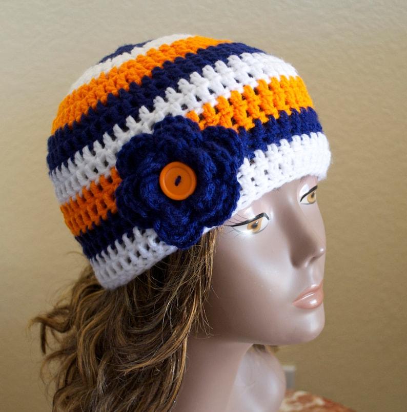 ded5b94b Custom Crochet Beanie Hat with Flower/ Adult Size | Etsy