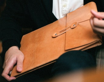 """Handmade MacBook Air/ 13""""MacBook Pro Leather Envelope Case with Free Monogramming - made to order"""