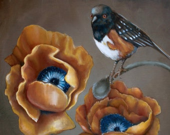 "Limited Edition 8""x8"" Wood Art Print -- 'Anew' (Orange Poppies and Towhee Bird)"