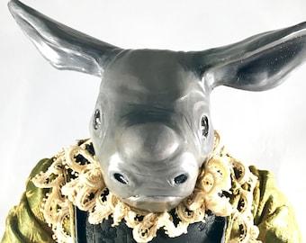 OOAK fine art doll: Baby Rhino in Satin and Velvet Baroque Costume