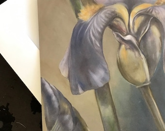 """Set of 3 blank artist greeting cards with envelopes: """"Reach"""" (two iris flowers)"""