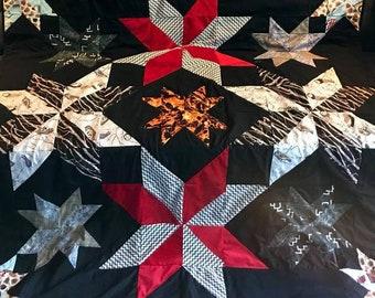 """Twins Peaks Fire Walk With Me Heirloom Quilt (Midnight Stars Pattern 60"""" x 60"""")"""
