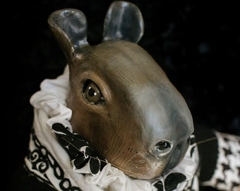 OOAK fine art doll: Capybara in Black and White Houndstooth Suit with Ruffled Collar