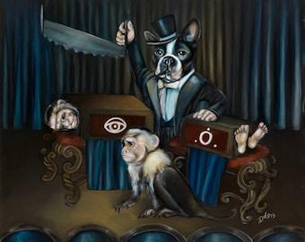 Original surreal framed oil painting 25 x 20: 'Halve' (Boston Terrier, Monkeys, Magician, Magic Trick)