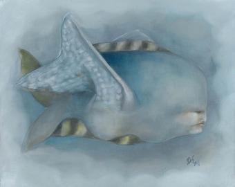 Original framed oil painting 15x13 surreal flying fish: Insomnia