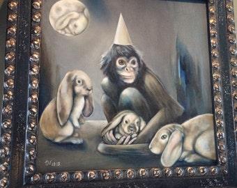 "Original surreal oil painting 16"" x 16"" Monkey, rabbits, moon -- 'Nerves'"
