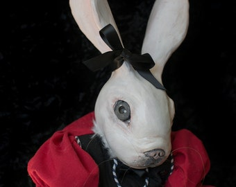 OOAK fine art doll: White Rabbit with Vintage Look Scarlet Frock and Horsehair Whiskers