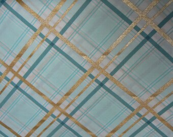 Bow Tie Plaid Cotton Fabric in Mint by Michael Miller - 1 Yard