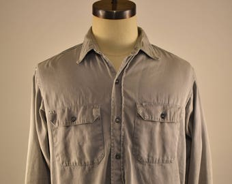 Vintage 60's BIG MAC Penney's Button Up Shirt Original Repairs Workwear