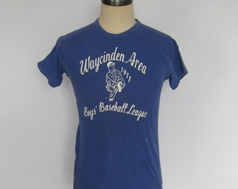 Vintage Distressed RUSSELL SOUTHERN Waycinden Area 1971 Baseball T-Shirt Size L Usa