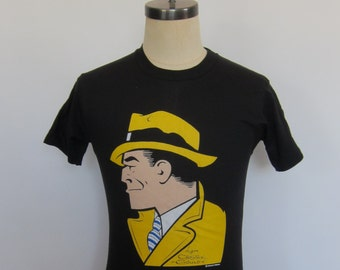Vintage Dick Tracy by Chester Gould Deadstock NOS 80's Black T-Shirt USA Size Small Screen Stars