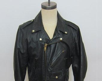 Vintage Motorcycle Jacket Wilson Brass Zippers Size 44