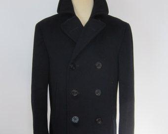 5d732c92c06dd Vintage 50's NAVY PEA Coat Stenciled Korean War Era Wool Size 38 Naval  Clothing Depot