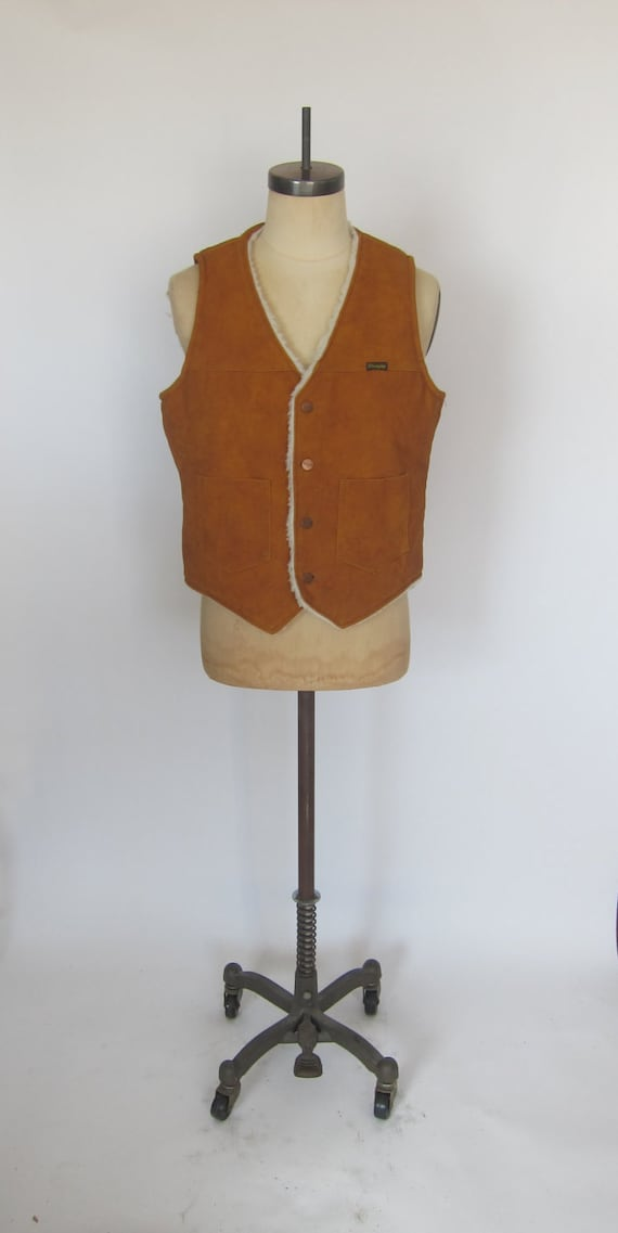 Vintage WRANGLER 70's Faux Leather Shearing Vest S