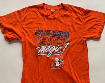 Vintage 1986 Broncos AFC Champs Orange Magic Tee Size L