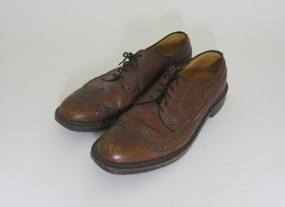 Vintage Bostonians Wingtip Oxford Brown Shoes Size