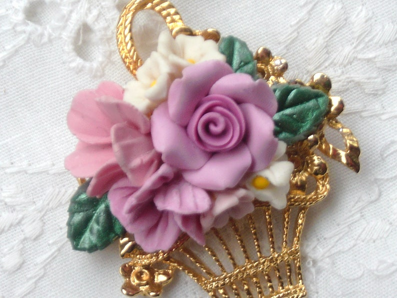 Jewelry & Watches Violets Modest Round Floral Cameo Brooch/ Pendant
