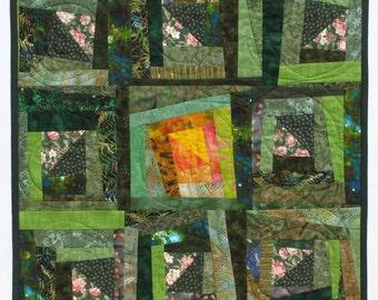 Wall Hanging Abstract Quilt Art Wonky Log Cabin Green Meadow SunrisePatchwork Limited Edition