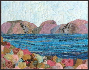 Holy Land Landscape Quilt Art Wall Hanging Sea of Galilee