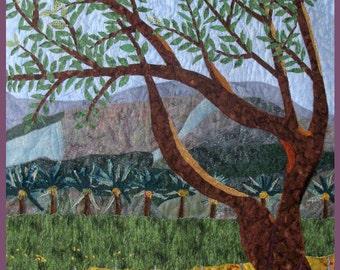 Decorative Landscape Wall Hanging Quilt Art, Holy Land Kibbutz