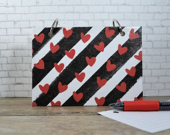 Valentine's Day, Hearts and Stipes Index Card Binder for Writing Notes of Love
