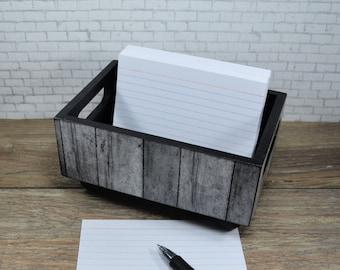 Storage Bin, Faux Wood, Desk Organizer, Recipe Card Holder