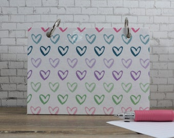 Index Card Binder with Pastel Hearts for Note Writing
